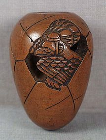19c netsuke TENGU hatching from EGG