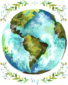 Earth globe Artwork by Katie Daisy (www.KatieDaisy.com)