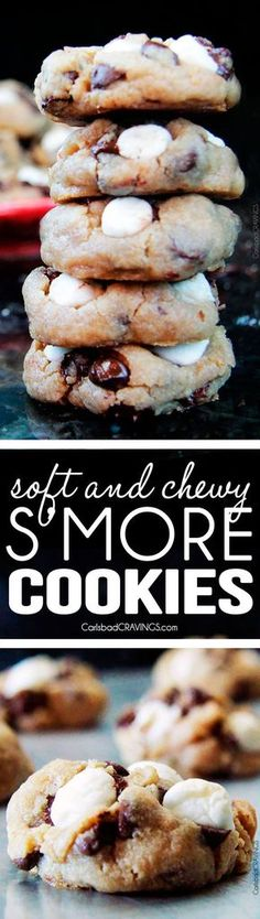 Soft and Chewy S'more Cookies - chewy, graham cracker cookies nestled with gooey chocolate and slightly toasted marshmallows. My husbands FAVORITE COOKIE! via /carlsbadcraving/
