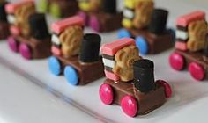 Teddies on trains These cute little train teddies are a great party snack idea and would also work as birthday cake decorations.These cute little train teddies are a great party snack idea and would also work as birthday cake decorations. Birthday Party Snacks, Snacks Für Party, 2nd Birthday, Birthday Ideas, Cake Stall, Tiny Teddies, Birthday Cake Decorating, Cooking With Kids, Cooking Wine