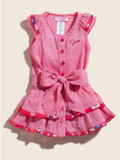 Cute gingham dress from Guess Toddler Girl Outfits, Baby Girl Dresses, Baby Dress, Dress Set, My Baby Girl, Baby Girls, Gingham Dress, Cute Little Girls, Sewing Clothes