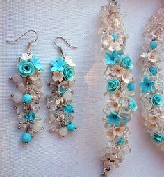 Light blue jewelry  Chunky necklace earrings bracelet by insou, $70.00