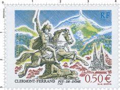 Timbre : 2004 CLERMONT-FERRAND PUY-DE-DÔME - VERCINGÉTORIX  | WikiTimbres Clermont Ferrand, Stamp Collecting, Postage Stamps, Tourism, Map, Monaco, Entertainment, Culture, Architecture