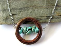 Wooden Jewelry Wire Wrapped Copper Sea glass Stones Bead Necklace ...