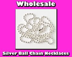 100 Ball Chain Necklaces  Wholesale  Silver by BottleCapSuppliers, $24.95
