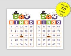 Halloween Bingo Cards, 200 cards, 2 per page, immediate pdf download, Boo Halloween Bingo Cards, Custom Bingo Cards, Bingo Calls, Bingo Patterns, Unique Cards, Family Games, Party Games, Fundraising, Printable