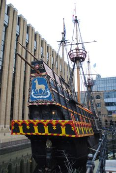 Full sized replica of the Golden Hinde, Sir Francis Drake's galleon in which he circumnavigated the globe in 1577/80. It is now moored at St Mary Overie Dock in Bankside, London. Saw this!!!