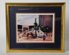 Joanne Honschopp Fountain Square Ltd Ed Print Fountain Square by Joanne HonschoppLimited Edition Print Signed and NumberedFramed And in X 21 inLight Wear to frame, else very good condition Fountain Square, Art Auction, San, Painting, Painting Art, Paintings, Painted Canvas