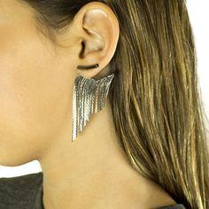 Brinco Ear jacket de Franjas Glam Rock | Mixer Acessorios
