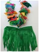 This Hawaiian costume is fun for luaus, Halloween, or play time. Make a Hawaiian costume, complete with tissue-paper lei and crepe-paper gra...