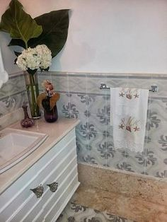 Encaustic Cement Tile as Wainscoting in not only functional, it's also a beautiful and long-lasting. Ceramic Tiles, Bathroom Vanity, Encaustic Cement Tile, Hand Painted Ceramics, Painting Ceramic Tiles, Vibrant Colors, Stuff To Buy, Wainscoting, Bathroom