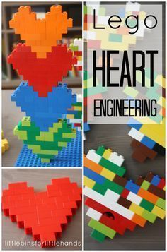 Kids Health Lego Hearts Engineering and Building Project for Kids - perfect for Valentine's day! - Build a LEGO heart for a simple engineering project for kids. LEGO hearts are a simple and fun STEM activity. Explore math and engineering with LEGO hearts! Valentines Day Activities, Valentine Day Crafts, Lego Valentines, Projects For Kids, Crafts For Kids, Simple Projects, Fair Projects, Project Ideas, Stem Activities