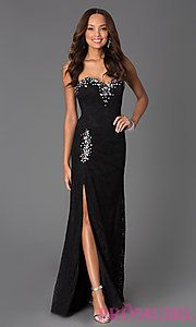 Buy Strapless Sweetheart Lace Dress with Ruched Waist at PromGirl