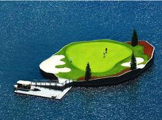 The Coeur d'Alene Golf Resort in Idaho has the world's first, and only, floating island green.
