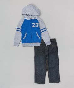 Blue Varsity hoodie & jeans on Zulily.