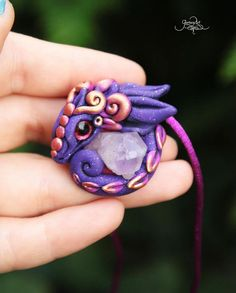 Ametyst Dragon amulet pendant - mineral ametyst pendant - dragon neclace - fantasy jewelry - purple baby dragon - ooak - magic forest animal - fimo art - hadmade - polymer clay by GloriosaArt