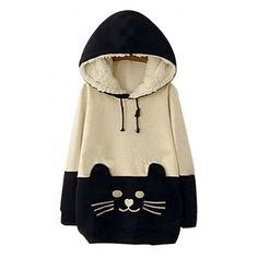 Woman Girls Kawaii Cat Face Tail Hoodie with Cute Hat Fleece Sweater... ($43) ❤ liked on Polyvore featuring tops, hoodies, jackets, sweaters, cats, cat hoodie, brown hoodie, fleece shirt, fleece hoodies and cat hooded sweatshirt
