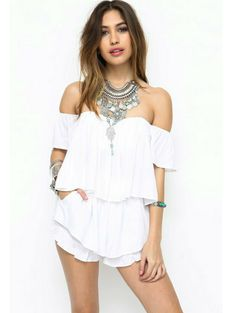 The Bardot Summer Blouse in White . White Off The Shoulder Top with Bodice Underneath. Limited Amount