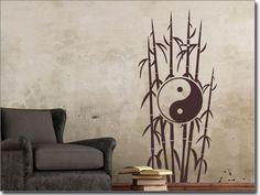 Wandtattoo Bambus mit Yin & Yang