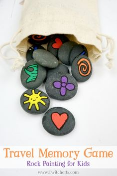 Learn how to make fun memory games out of painted rocks. They are a travel-ready boredom buster that's kid approved! Use them to fill busy bags, create an afternoon of fun, or give as a gift! Summer Party Games, Birthday Party Games For Kids, Homemade Carnival Games, Carnival Games For Kids, Rock Painting Ideas Easy, Painting For Kids, Memory Games For Kids, Activities For Kids, Spring Activities