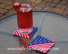 4th of July plastic canvas cup coasters