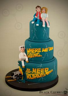 """A """"Back To The Future"""" wedding cake by Tracey at Black Cherry Cake Company."""