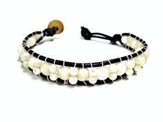 For Nat. Ivory White Bead Leather Woven Bracelet made by CHRISTIANIMAL