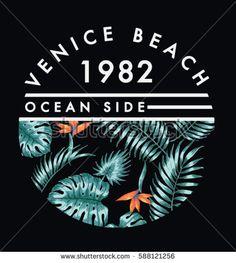 Venice beach illustration for t-shirt and other uses. Print Design, Logo Design, Graphic Design, Beach Illustration, Beach T Shirts, Surf Wear, Clothing Logo, Venice Beach, Apparel Design