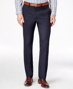 Kenneth Cole Reaction Men's Slim-Fit Stretch Dress Pants, Only at Macy's - Pants - Men - Macy's Slim Fit Dress Pants, Stretch Dress Pants, Mens Dress Pants, Dress Trousers, Slim Fit Dresses, Men Dress, Men's Pants, Business Casual Khakis, Slim Man