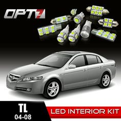 14pc Interior LED Replacement Light Bulbs Package Set for 04-08 Acura TL | White