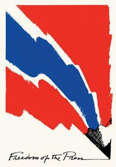 Saul Bass (1920-1996, American), 1973,  Freedom of the Press, The American Civil Liberties Union.
