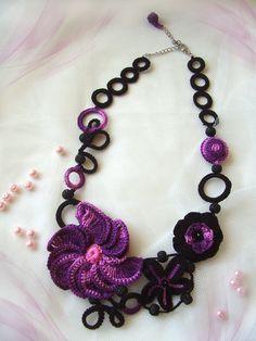 Purple pink flower crochet necklace by KSZCrochetTreasures on Etsy