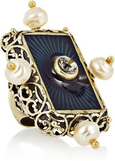 Secrecy Faux Pearl and Crystal Ring