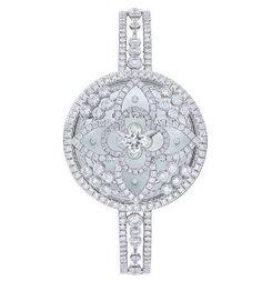 Louis Vuitton Les Ardentes secret watch (covered) with diamond-set strap. The diamond-set disc slides open to reveal a watch dial. Jewelry Box, Jewelry Watches, Jewelry Accessories, Fine Jewelry, Jewlery, Swarovski, Audemars Piguet, Louis Vuitton Handbags, Lv Handbags