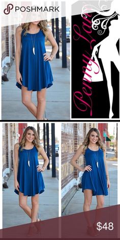 Pretty royal swing dress! Show off those legs!! Perfect for summer! Falls in all the right places! This dress will move with you as you walk down the boardwalk, beach, or strip! Just long enough to cover the right areas, but classy enough to wear to a family brunch! For those not so brave, pair with leggings, or wear shorts underneath:) Infinity Raine Dresses Mini