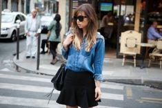 Tuck denim shirt into a black skirt for a casual, yet stylish look. Uñas Fashion, Fashion Outfits, Womens Fashion, 2010s Fashion, Fashion Styles, Denim Noir, Look Office, Black Denim, Pretty Outfits