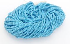 True Cut Seed Beads, Blue Turquoise Charlottes, Opaque, Size 13, Full Hank, 12 Strands, Vintage