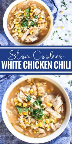 This Slow Cooker White Chicken Chili is must make comfort food. It's dairy free, flavorful, hearty, and mild enough for the whole family to enjoy. Slow Cooker Chili, Slow Cooker Recipes, Chili Recipes, Soup Recipes, Healthy Recipes, Recipes Dinner, Paleo Dinner, Drink Recipes, Healthy Eats
