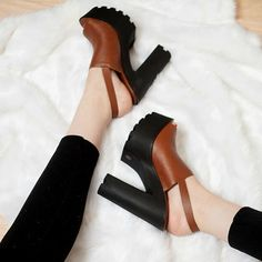 Sling Back Peep Toe Lug Heels