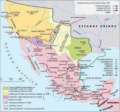 Mapa de la Guerra México-EEUU (1846-1847).