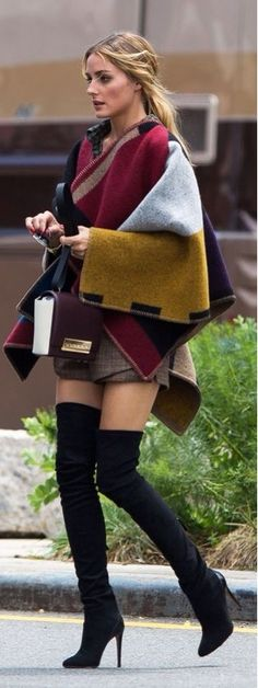 Olivia Palermo looks gorgeous in a poncho for Fall