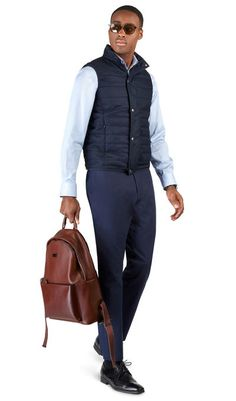 Ealing Navy Quilted Gilet, , portrait