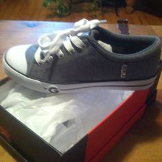 "brand new GUESS Brand new listing"" brand new in box, these are sooo cute!!! Grey with silver studs .. They were a gift , I them but to big :( my loss your gain guess Shoes"