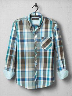 Ben Sherman coven collar oversized fine oxford check regular fit shirt