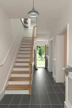 We love the look created by adding mosaic tiles to stairs, subtle yet effective! Grey Hallway, Tiled Hallway, Hallway Colours, Wood Effect Tiles, Hall Flooring, Corridor Design, Victorian Tiles, Glass Mosaic Tiles, Entrance Hall