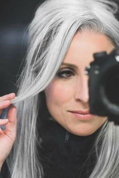 Long Gray Hair, Grey Hair, Olive Skin Blonde Hair, White Blonde Highlights, Silver Haired Beauties, Going Gray, Hair Makeup, Hair Color, Long Hair Styles