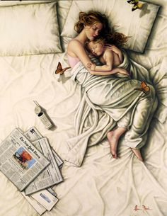 This looks like me and Carre when she was smaller. Painting ~ Sunday Morning by Lauri Blank.