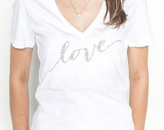 "Glitter ""love"" Shirt T-Shirt V-Neck, Glitter T-Shirt for Women Shirt (Item - SLO100)"
