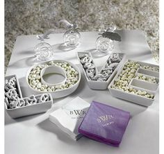 These exclusive LOVE plates have been created with style and versatility. Fill these plates with cheese cubes, olives or finger sandwiches at a Bridal Shower or  sweet treats for a Wedding Candy Buffet.