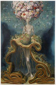 lambpire:    JULIE HEFFERNAN Self Portrait as Slow Growth, 2008oil on canvas, 86 x 56 inches